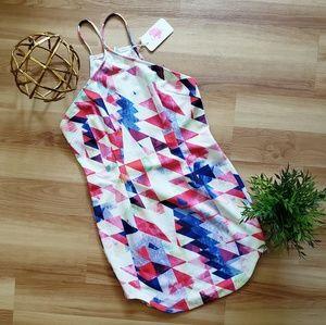 L'ATISTE by Amy Geometric Print Halter Mini Dress